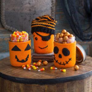 Crochet Halloween Jar Cozies