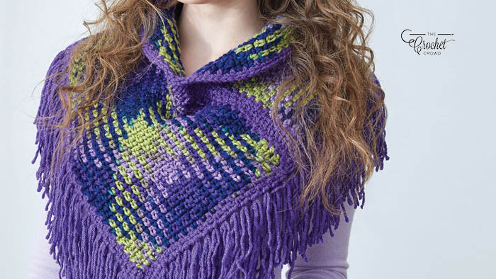 Crochet Planned Pooling Argyle Cowl with Fringe