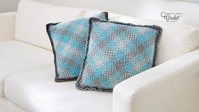 Crochet Planned Pooling Argyle Pillow