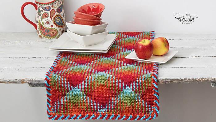 Crochet Planned Pooling Argyle Table Runner