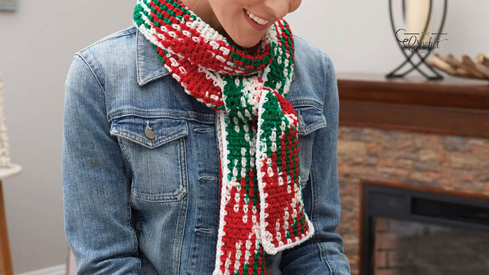 Crochet Planned Pooling Holiday Scarf