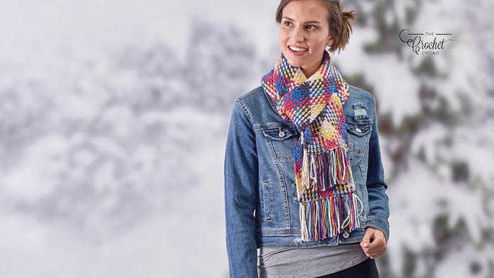 Crochet Planned Pooling Scarf with Fringe