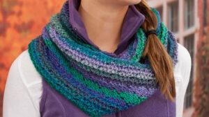 Crochet Herringbone Stitch Cowl