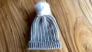 Loom Knit Adult Alpaca Striped Hat