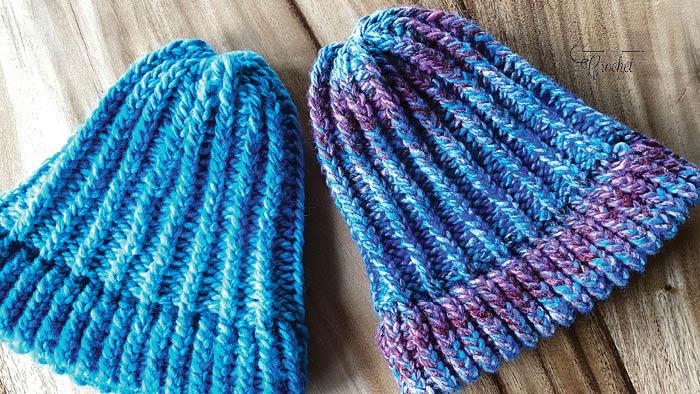 Loom Knit Adult Ribbed Hats