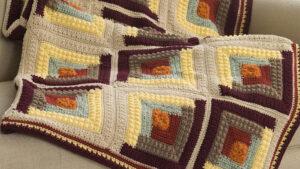 Crochet Autumn Log Cabin Afghan