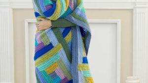 Crochet Cool Log Cabin Throw