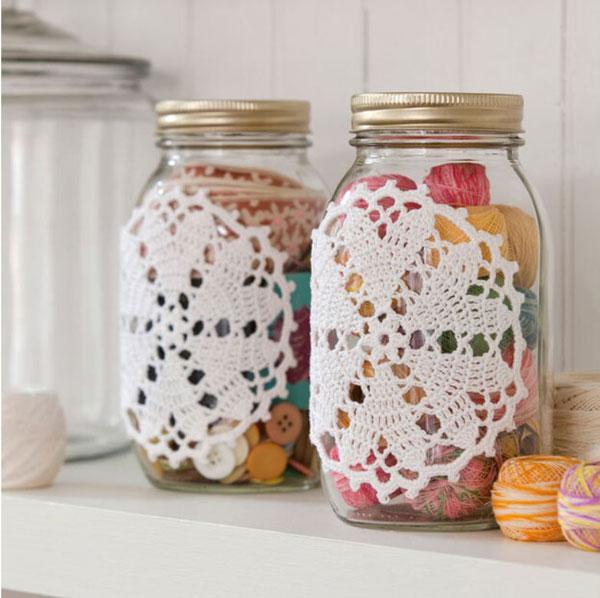 Aunt Lydia's Hearts Desire Doily-ed Jars