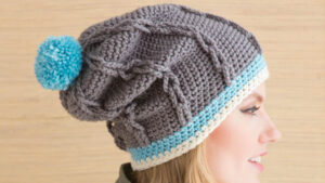 Crochet Cable Hat with PomPom