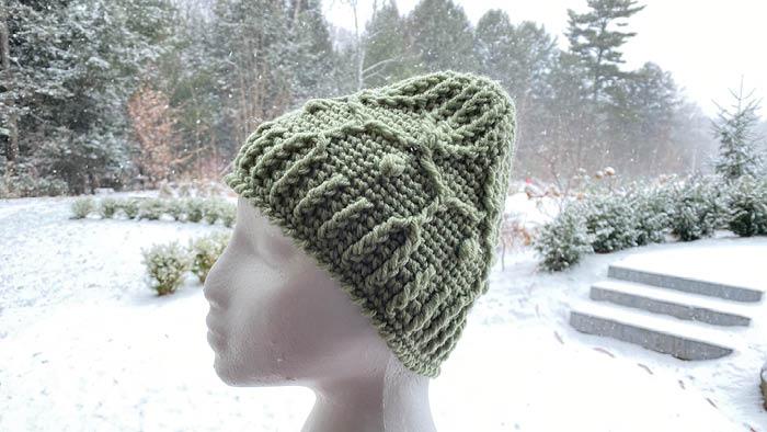 Red Heart Super Saver: Green. Winter Trellis Crochet Hat