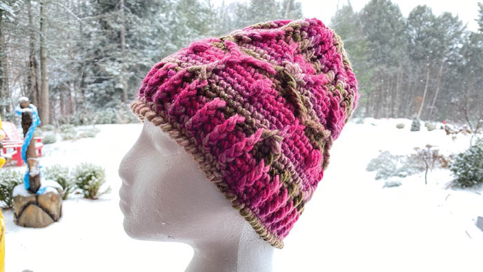 Red Heart Colorscape: Paris. Crochet Winter Trellis Hat