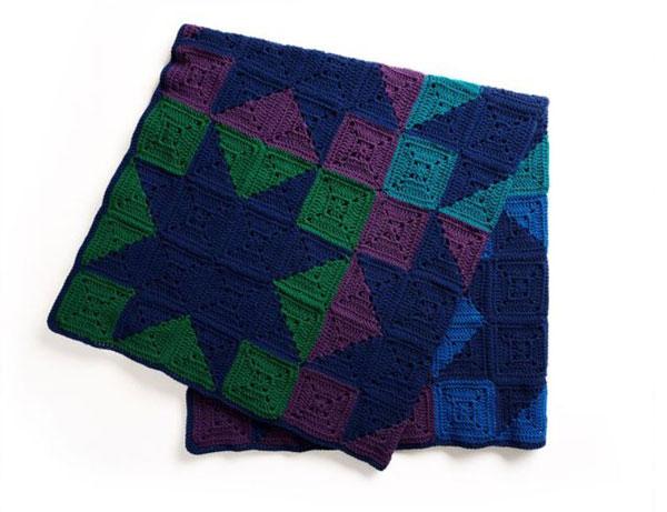 Red Heart Crochet Modern Patchwork Stars Blanket