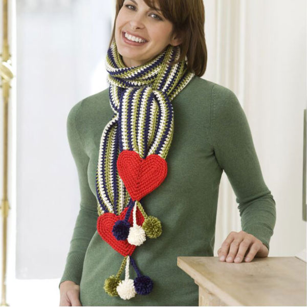 Red Heart Hearts & Stripes Scarf