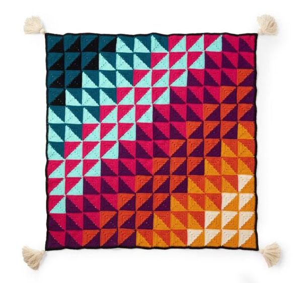 Red Heart Prismatic Chromatic Crochet Blanket