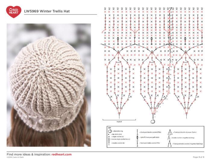 Winter Trellis Hat Crochet Diagram