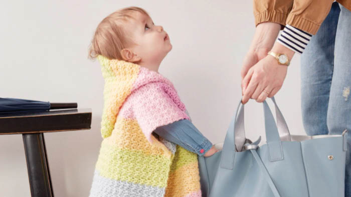 Crochet Baby Poncho with Caron Baby Cakes