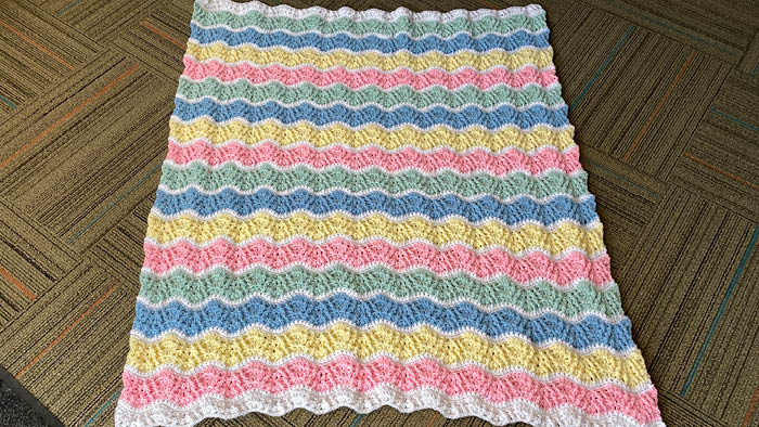 Crochet Butterfly Kisses Baby Blanket Spread Out
