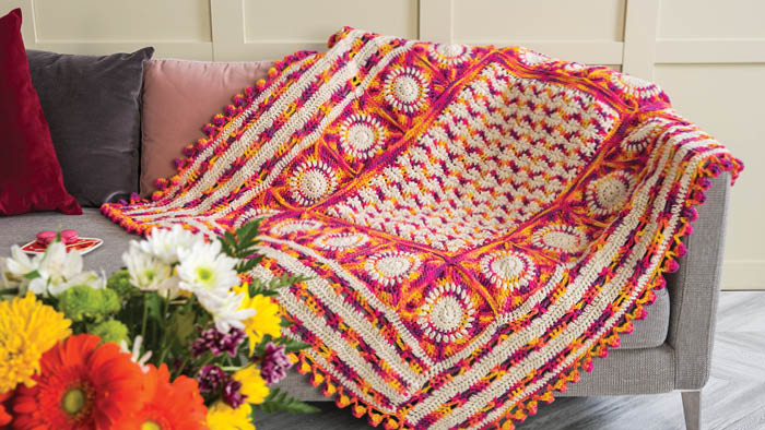 Crochet Puffy Flower Fun Day Blanket 2 Colours