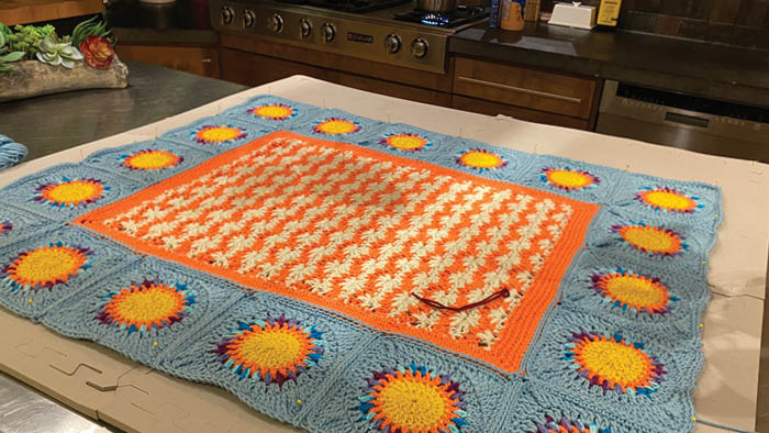 Crochet Puffy Flower Fun Day Blanket Attaching