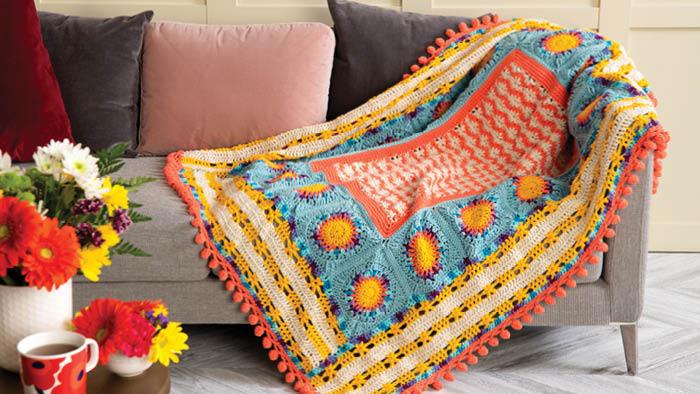 Crochet Puffy Flower Fun Day Blanket Colourful