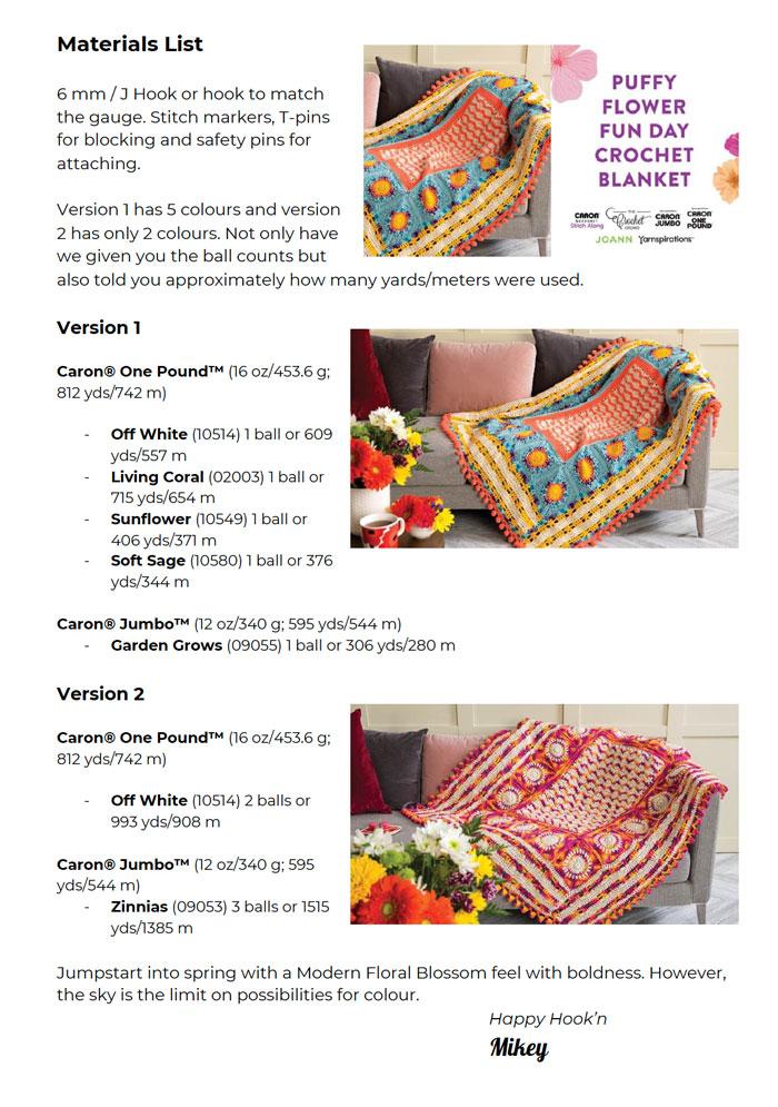 Crochet Puffy Flower Fun Day Materials List
