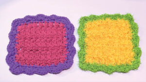 Crochet Scalloped Edge Dishcloth in Lily and Scrubby