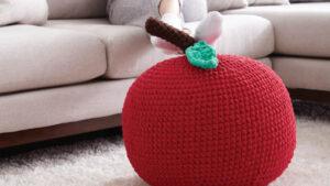 Crochet Large Apple Pouf