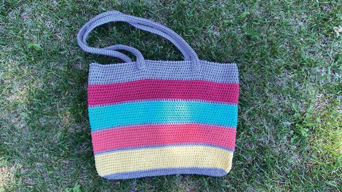 Crochet Market Tote Bag WIth Odd Balls