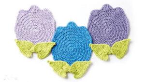 Crochet Tulips Dishcloth