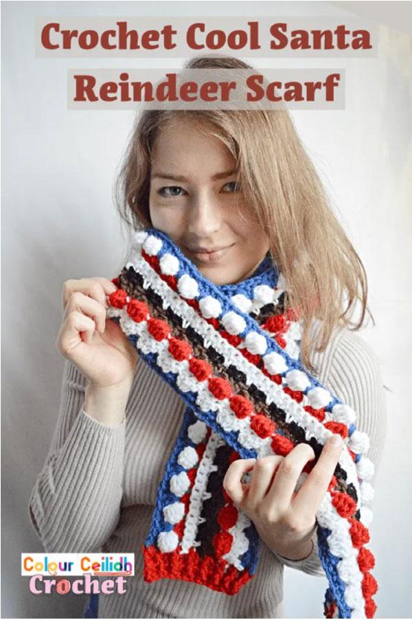 Crochet Cool Santa Reindeer Scarf