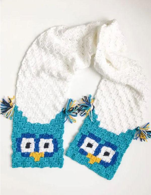 Owl Crochet Scarf Corner to Corner