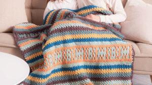 Cobertor Bernat Manta de Crochê com Listras Mosaicas
