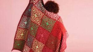 Cobertor de crochê com motivos em mosaico caron