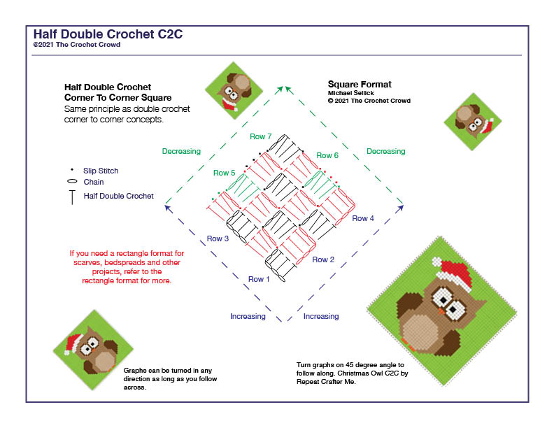 Half Double Crochet Corner To Corner Square Diagram