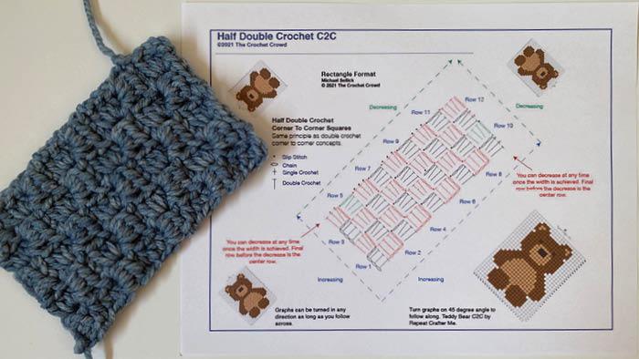 Half Double Crochet in Rectangle Format Corner to Corner C2C Diagram
