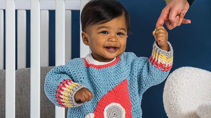 Crochet Baby Rocketship Sweater
