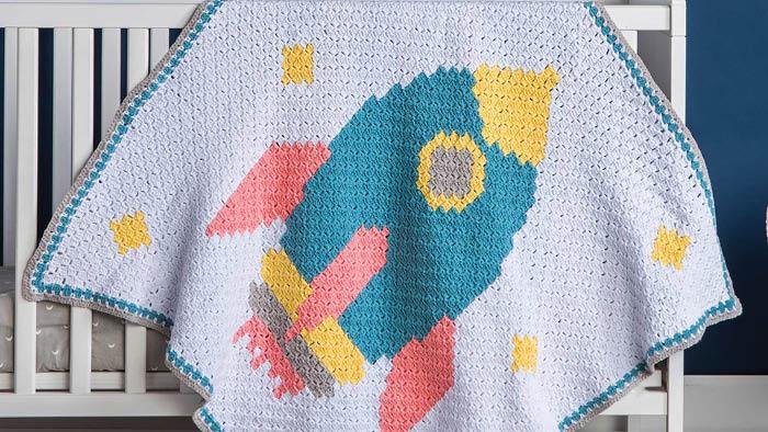 Crochet Rocketship Baby Blanket