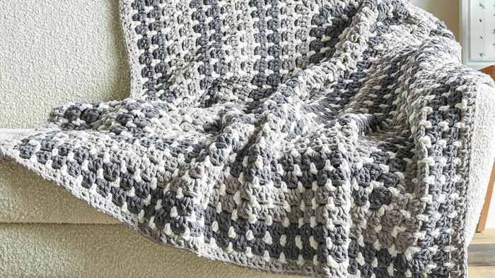 Crochet Super Chunky Modern Granny Rectangle Blanket