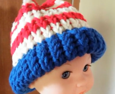 American Flag Hat Horizontal Stripes Loom Knitting Pattern
