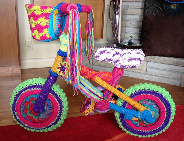 Yarn Bomb Bike, After Photo