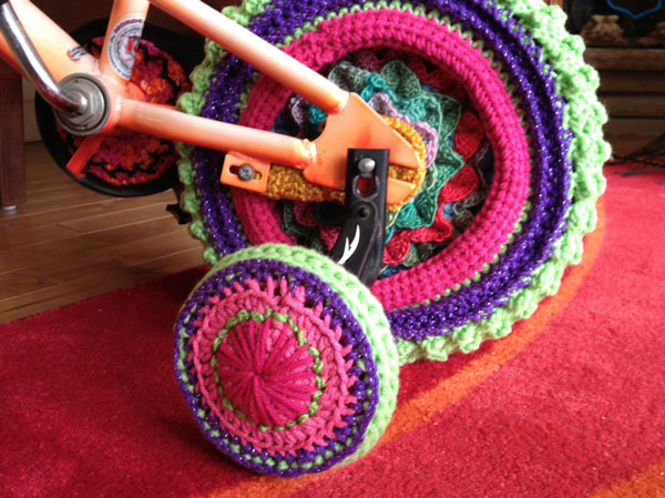 Crocheted a Cover for the Yarn Bike Training Wheel.