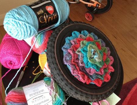Crochet As You go, Yarn Bomb Hub Cap