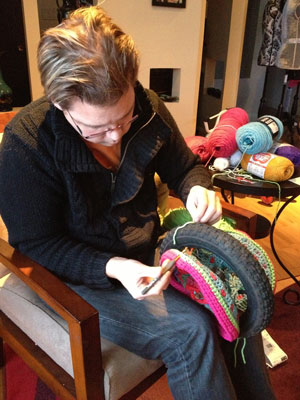 Affixing Crochet to Bike Wheel