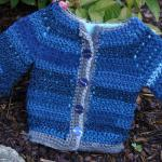 Blue Silver Baby Crochet Jacket