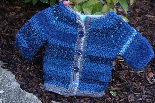 Blue Silver Baby Crochet Jacket Pattern