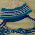 Shimmer Blue Braided Ear Flap Crochet Hat