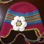 Colourful Braided Ear Flap Crochet Hat