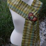 Green Hand Painted Scarf