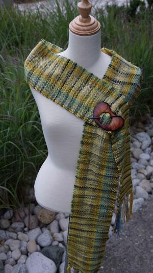 Green tartan woven scarf