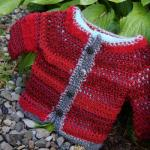 Red Silver Baby Crochet Jacket
